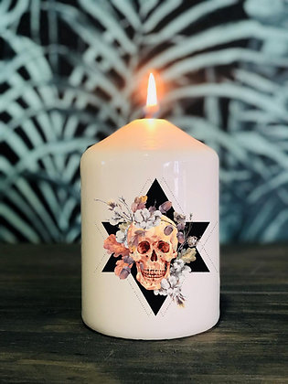 Bougie Tête de mort fleurs