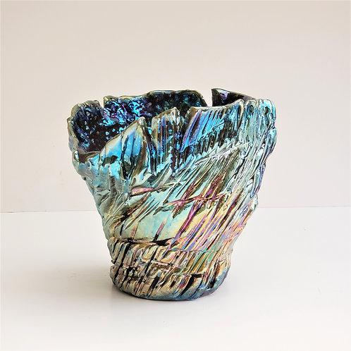 Raku Shiny Multicolor Vase