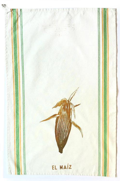 Loteria Inspired Tea Towel - El Maiz