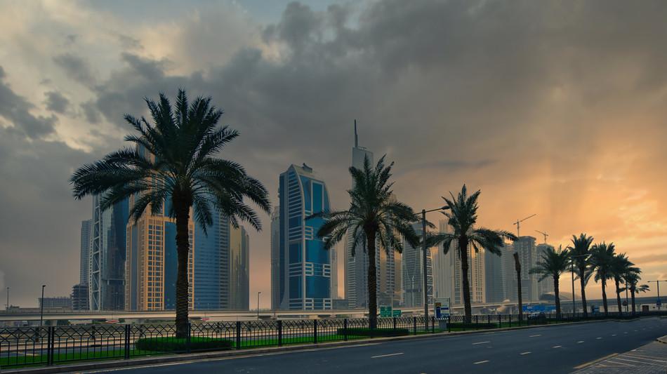 Dramatic Dubai Skyline Sunset
