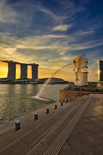 Singapore Merlion Sunset