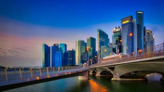 Singapore Skyline Jubilee Bridge