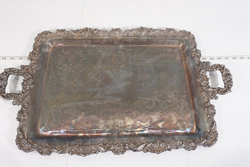 Ornate Vintage Silver Plated Serving Tray