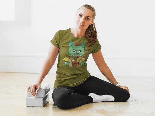 Pizza Cat Graphic Printed Dry Fit Tee by Hyparocks
