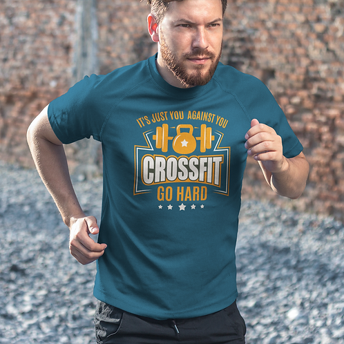 Crossfit Go Hard Printed Active Workout Tee