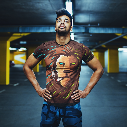 Smoking Lion Graphic Printed Super Dry Active Tee by Hyparocks