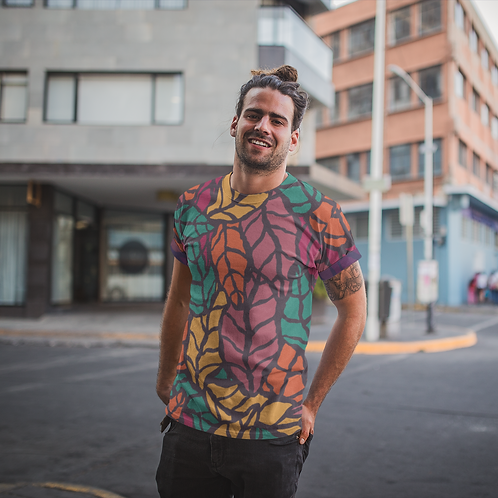 Colourful Leaf Printed Super Dry Active T Shirt