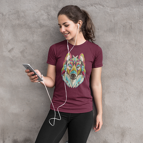 Colourful Wolf Face Graphic Printed Super Dry Tee
