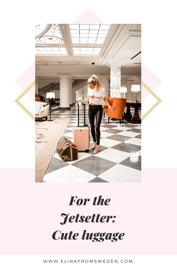 Chester pink suitcase Jetset girl hotel lobby