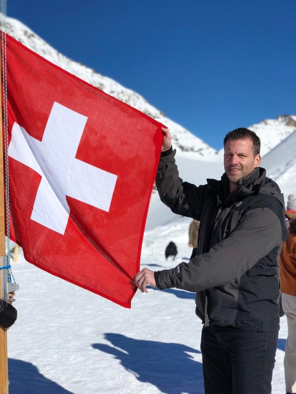 swiss flag alps