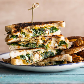 Spinach Artichoke Grilled Cheese with Hot Pepper Mayo & Oregano Fries from Purple Carrot (VEGAN)