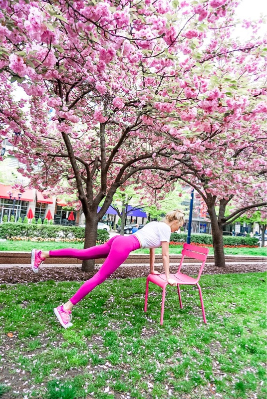 outdoor workout cherry blossoms pink