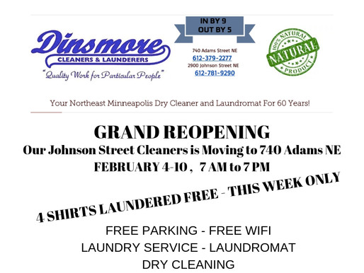 GRAND REOPENING! 4 Shirts Laundered Free This Week Only (Usually $9.99)