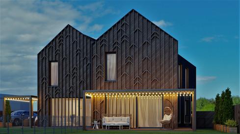 Eksterjero 3d vizualizacija. www.vizfactum.lt Fasado frontononės dalies sprendimas įkvėptas AKETURI ARCHITEKTAI MELT viešbučio Palangoje.