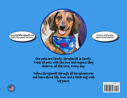 My Pal Stroganoff, A Doxie's Tail children's book back cover.