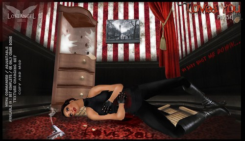 """""""My baby shot me down…."""" Scene: LivingRoom Weapon: Gun Options: Available in Complete Poseset/Crime Scene Only Texture Changer Set/many colors and options Permissions: All copy and Mod Available in Fatpack: YES"""