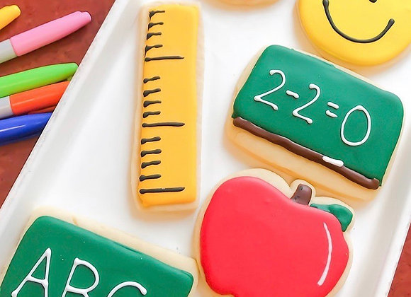 Back to School Frosted Cutout Cookies (6 Cookies): 5 Day Lead Time