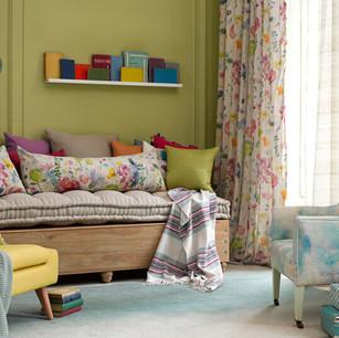 Bluebellgray Fabric  tetbury-linen-fabric-impressionist-teal-fabric