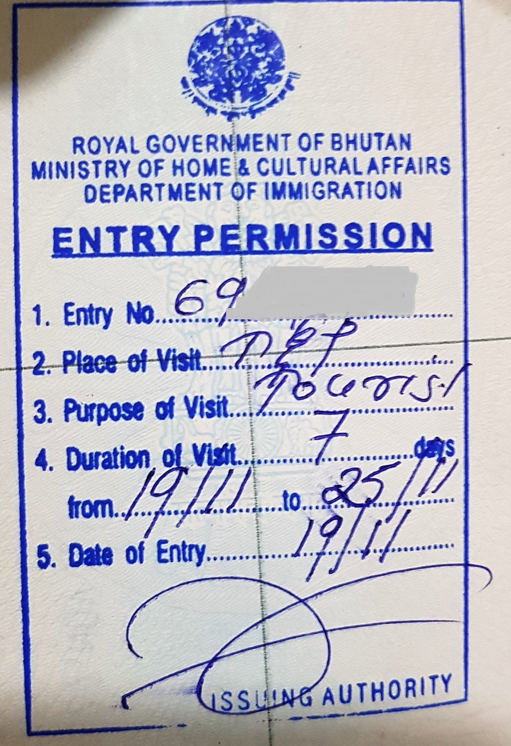 Bhutan Entry Permit for indian passport holders