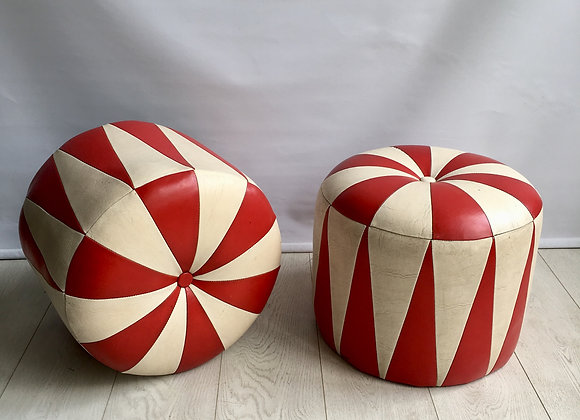 SOLD Striking pair of retro skai leather stools