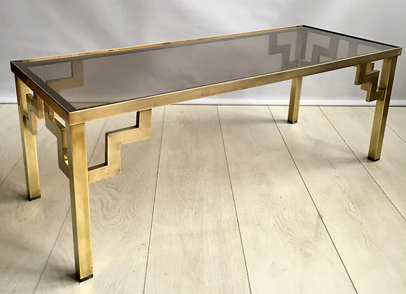 SOLD Vintage brass and glass coffee table (ref 2538)