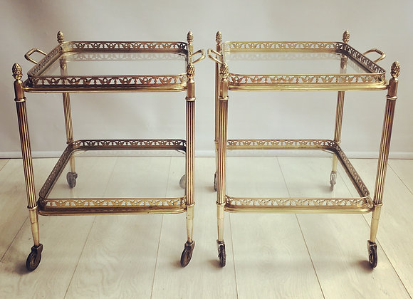 SOLD Pair of brass side tables/trolleys