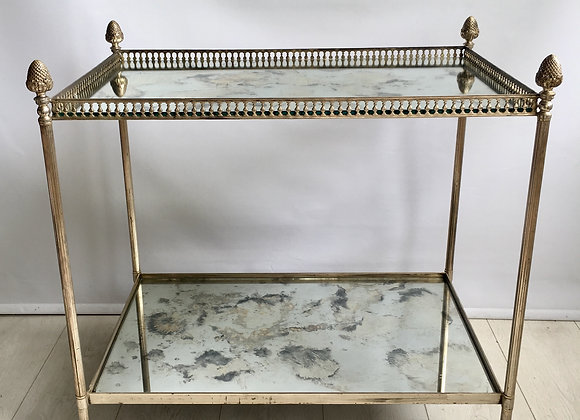 SOLD Vintage French Nickel/Silver Drinks Trolley cart