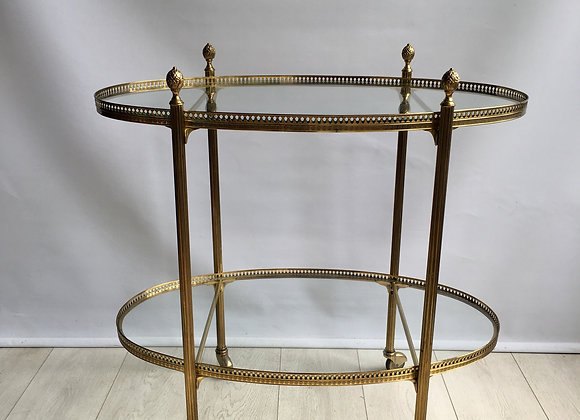 SOLD Vintage French brass oval drinks trolley bar cart ref 2030