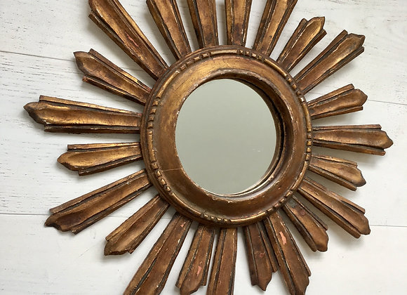 Vintage french giltwood sunburst mirror #3415