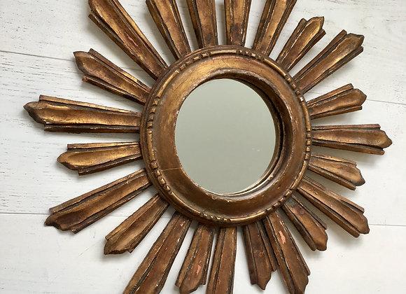 Vintage french giltwood sunburst mirror #3415