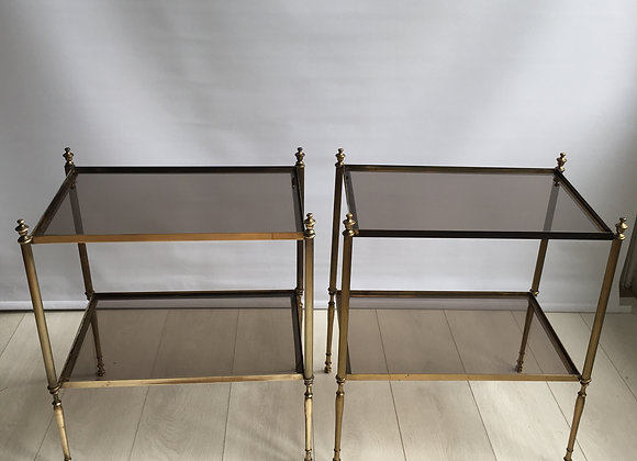 SOLD Pair of French brass side tables (ref 2457)