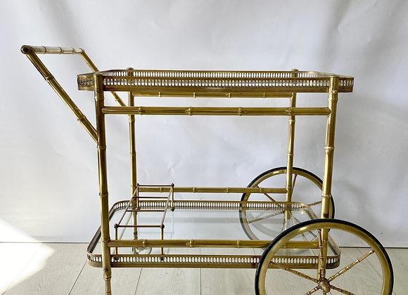 Vintage Italian brass bamboo drinks trolley cart ref 2460