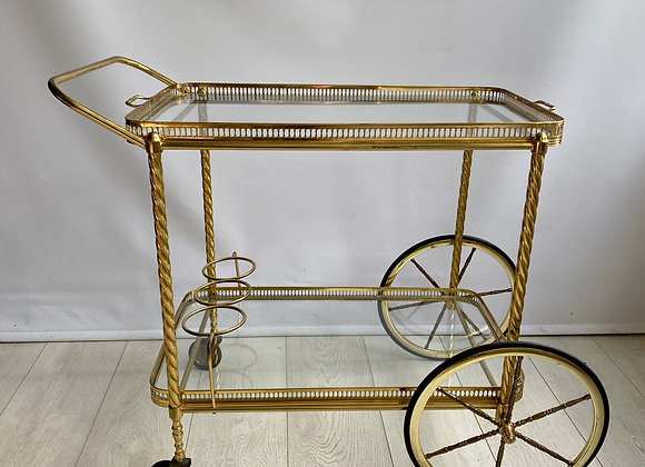 SOLD Vintage French brass drinks trolley bar cart REF 2305