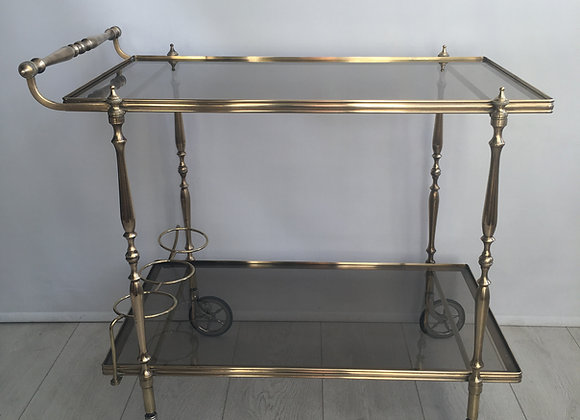 Vintage French brass rectangular drinks trolley bar cart (ref 2830)