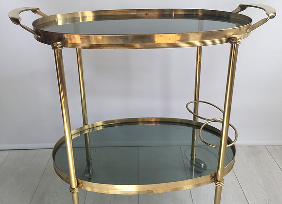SOLD Mid century brass oval drinks trolley (2511)