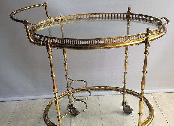 SOLD Vintage brass oval drinks trolley (2490)