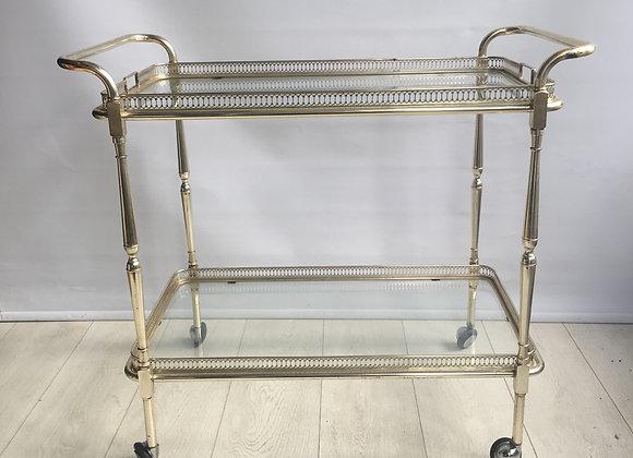SOLD Large nickel plated vintage drinks trolley barcart
