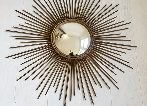 SOLD Large concave Chaty Vallauris sunburst mirror