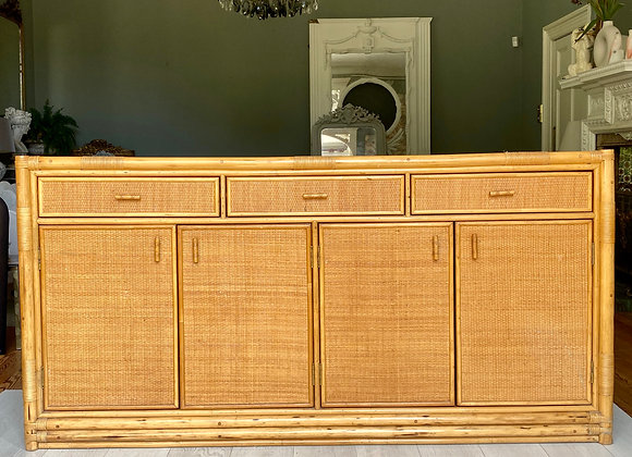 Vintage French bamboo and rattan sideboard