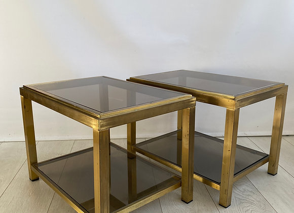 PAIR OF VINTAGE BRASS & SMOKED GLASS SIDE TABLES