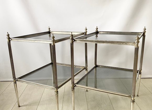 Pair of  vintage French silver side tables