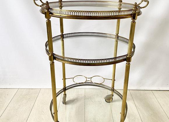 HOLD Vintage round brass drinks trolley ref 2475