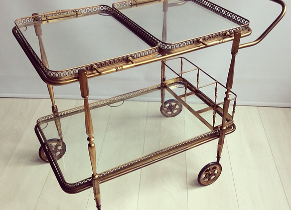 SOLD French brass trolley (2 tray)