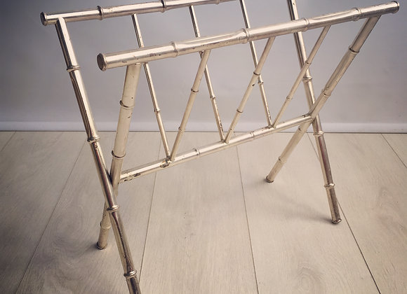 Vintage French Faux Bamboo Magazine Rack