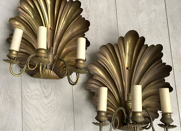 HOLD PAIR ANTIQUE BRASS SHELL SCONCES 1879