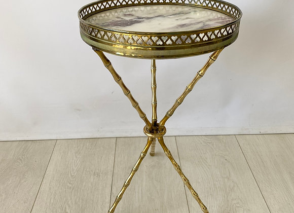 Vintage brass bamboo tripod table
