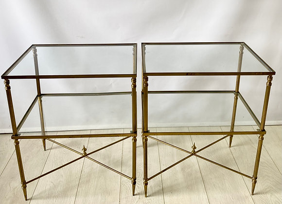 Pair of Vintage French brass side bedside tables ref 5170