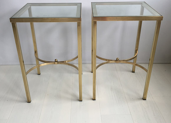 SOLD English brass side tables