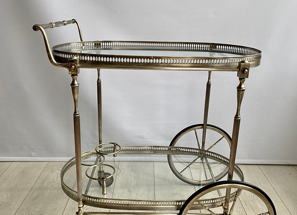 SOLD Vintage French silver drinks trolley bar cart
