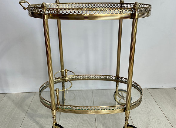 SOLD Quality vintage French brass drinks trolley